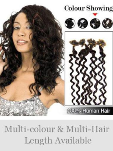 Remy Human Hair Curly Mature Nail-U Tip Hair Extensions