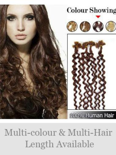 Remy Human Hair Curly Glamorous Nail-U Tip Hair Extensions