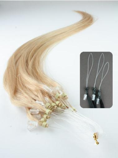 Mature Blonde Straight Remy Human Hair Hair Extensions Micro Loop Ring