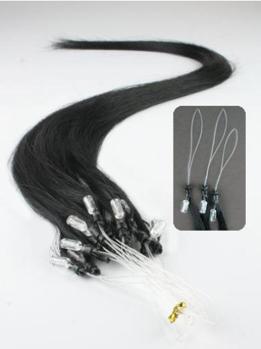 Shining Black Straight Remy Human Hair Hair Extensions Micro Loop Ring