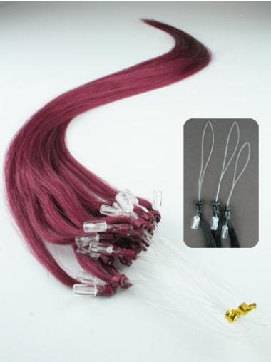 Unique Red Straight Remy Human Hair Hair Extensions Micro Loop Ring