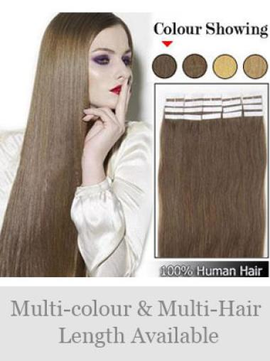 Remy Human Hair Brown Sleek Tape in Hair Extensions
