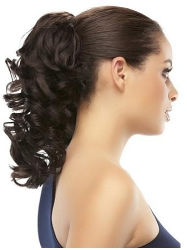 Fashionable Brown Curly Clip in Hairpieces