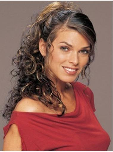 Durable Brown Curly Long Clip in Hairpieces