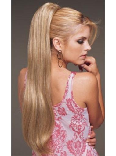 Synthetic Long Blonde Suitable Ponytails