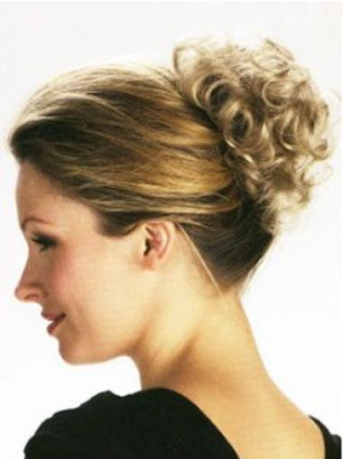 Impressive Blonde Curly Short Clip in Hairpieces
