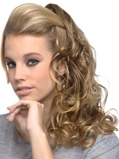 Stylish Blonde Curly Long Clip in Hairpieces
