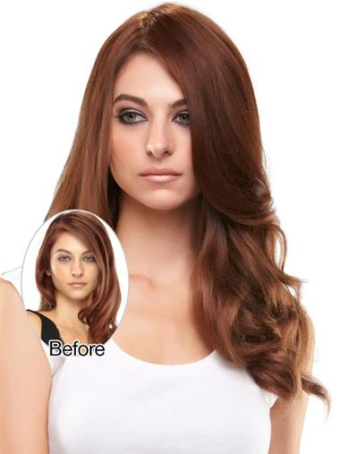 Nice Auburn Wavy Long Clip in Hairpieces