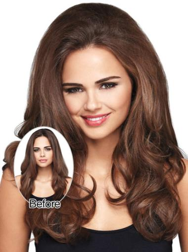 Perfect Brown Wavy Long Clip in Hairpieces