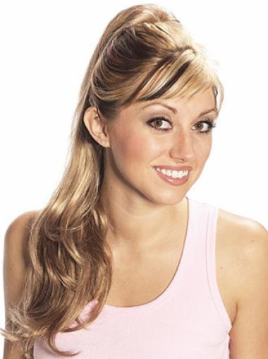Synthetic Long Blonde Graceful Ponytails