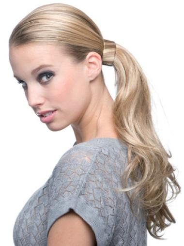 Synthetic Long Blonde Elegant Ponytails