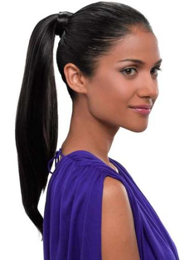 Synthetic Long Black No-fuss Ponytails