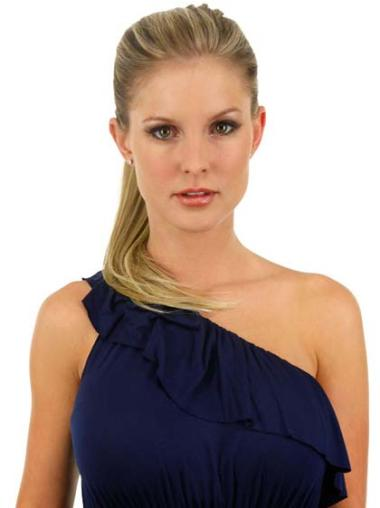 Comfortable Blonde Straight Long Ponytails Hairpieces