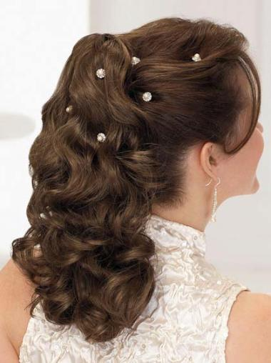 Fashionable Brown Curly Long Ponytails Hairpieces
