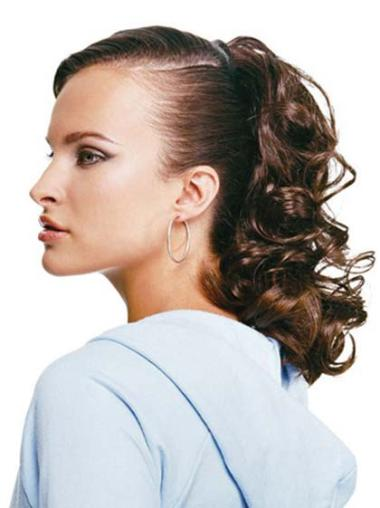 Flexibility Brown Curly Long Ponytails Hairpieces