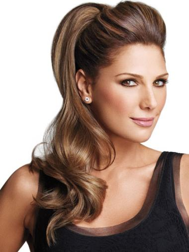 Synthetic Long Brown Easy Ponytails
