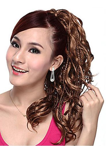 Ideal Brown Wavy Ponytails Hairpieces