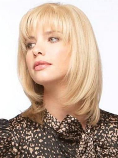 Blonde Monofilament Remy Human Hair Graceful Medium Wigs