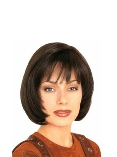 Shining Brown Straight Chin Length Human Hair Wigs