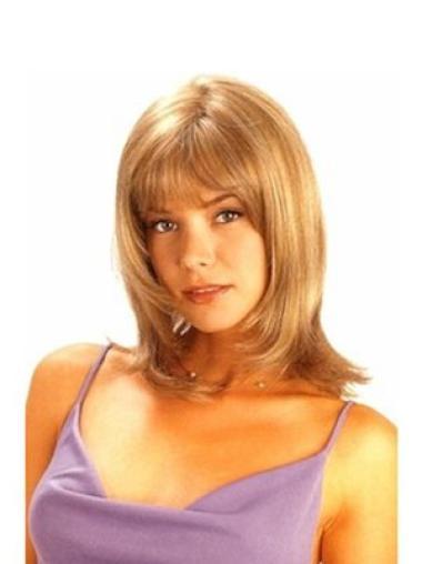 Convenient Blonde Straight Shoulder Length Human Hair Wigs