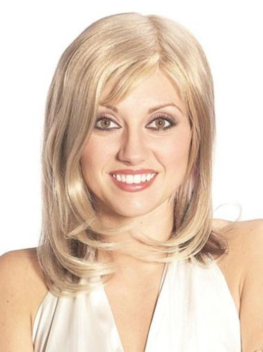 Graceful Blonde Straight Long Human Hair Hairpieces
