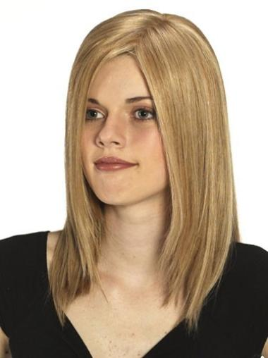 Fashionable Blonde Monofilament Long Human Hair Wigs