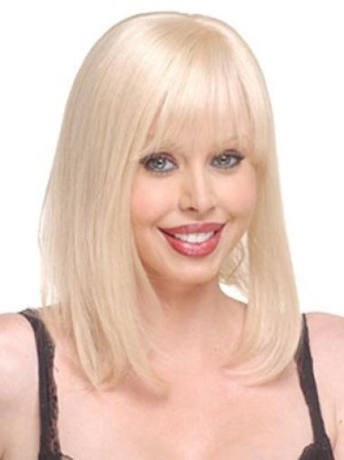 Elegant Blonde Straight Long Human Hair Hairpieces