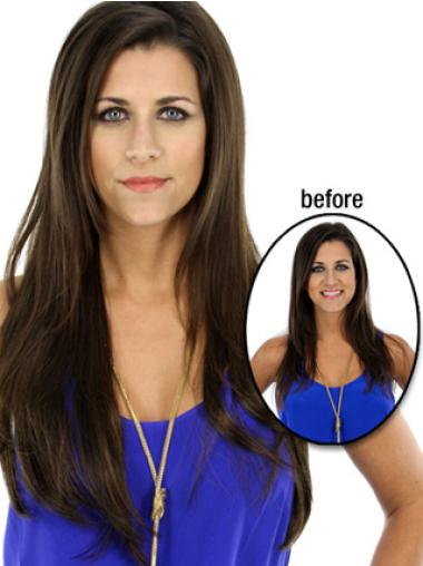 Online Brown Straight Long Hair Falls & Half Hairpieces