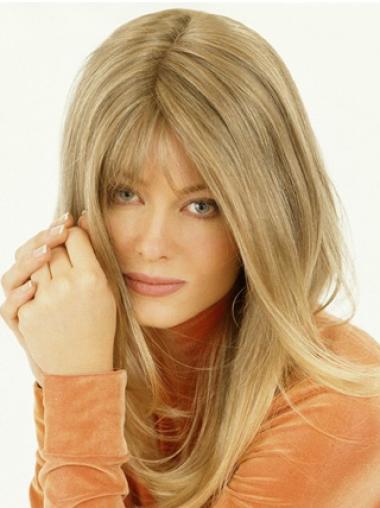 Fashion Blonde Straight Long Hair Falls & Half