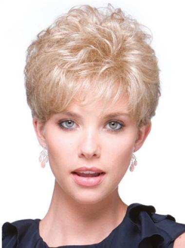 Durable Blonde Curly Short Hair Falls & Half