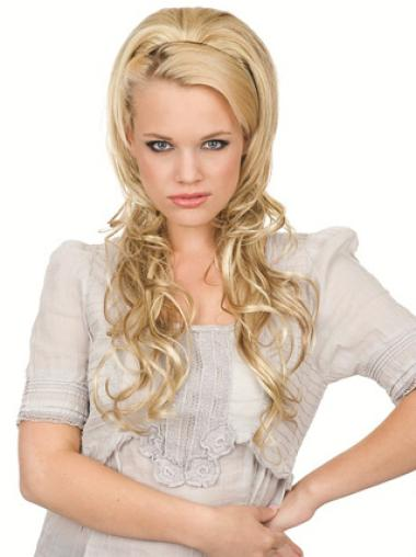 Natural Blonde Wavy Long Hair Falls & Half Hairpieces