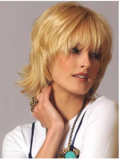 Wavy Blonde Short Human Hair Wigs