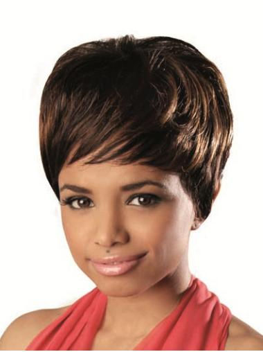 Brown Wavy African American Wigs With Bangs