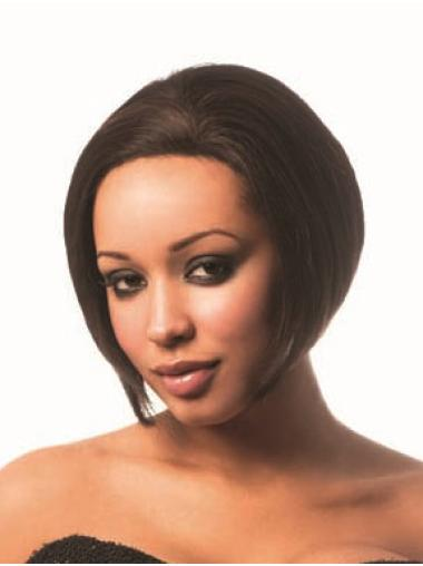 Brown Straight Lace Front African American Wigs