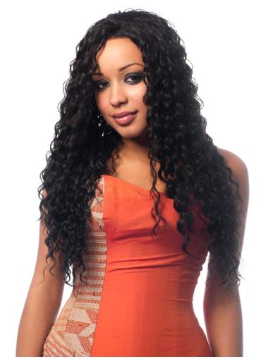 "26"" Black Curly African American Wig"