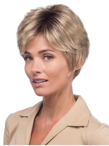 """Blonde 8"""" Wavy Monofilament Synthetic Wigs"""