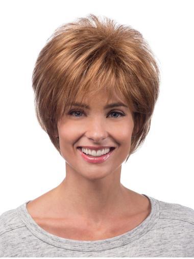 Layered Auburn Capless Synthetic Short Wigs