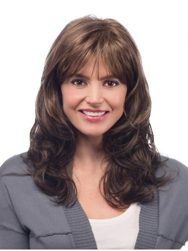 Capless Wavy Brown Long Synthetic Wigs