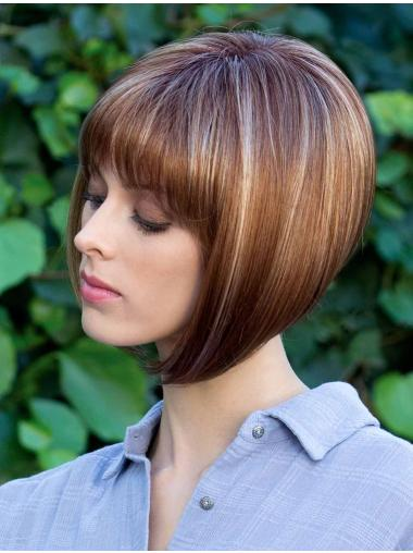 Monofilament Brown Straight Bob Cut Wig