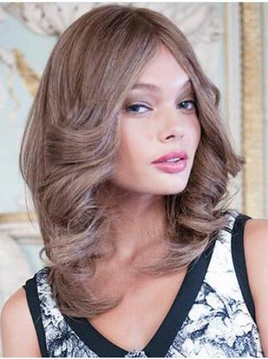 "100% Hand-tied Brown Layered 14"" Medium Length Wigs"