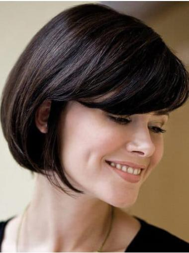 Bobs Remy Human Hair Black Straight Hand Tied Lace Wigs