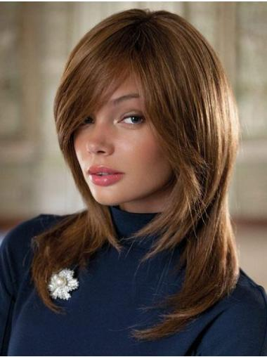 With Bangs Remy Human Hair Brown Straight 100% Hand Tied Wigs
