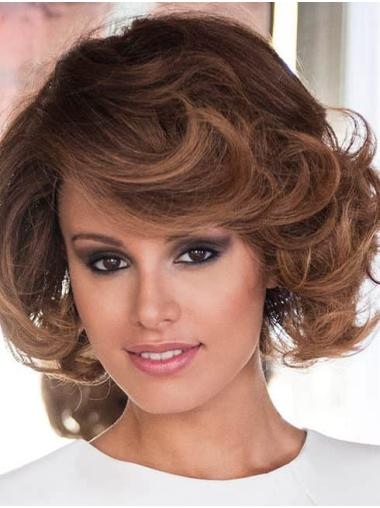 Layered Remy Human Hair Brown Curly Handtied Wigs