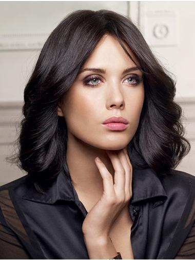 """Capless Black Without Bangs 16"""" Long Wig"""