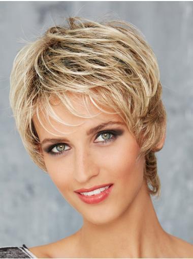 "Boycuts Synthetic Blonde Wavy 8"" Monofilament Wigs"