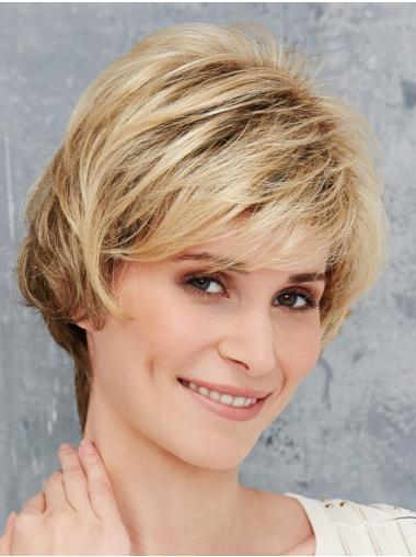 Blonde Synthetic Boycuts Straight Short Front Lace Wigs