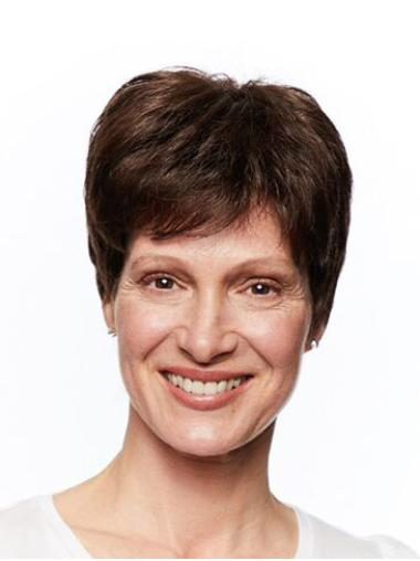 Short Monofilament Straight Brown Wigs For Women