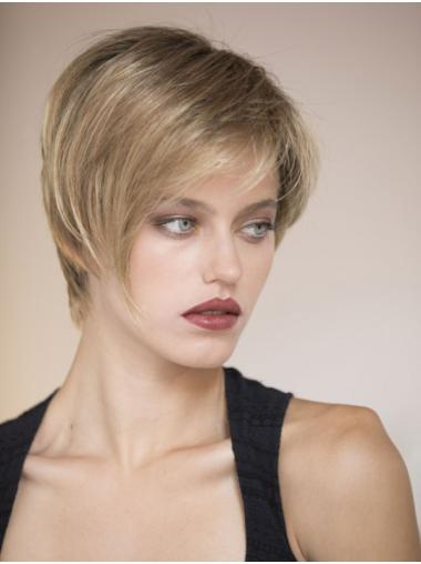 "Monofilament 8"" Straight Short Human Hair Wigs"