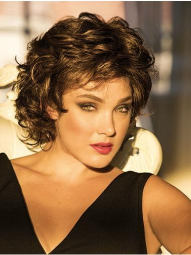 Curly Monofilament Brown Short Classic Womens Wigs