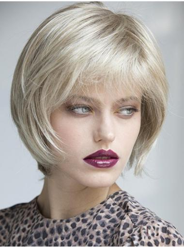"""100% Hand-tied Platinum Blonde Synthetic 10"""" Chin Length Ladies Bob Wigs"""